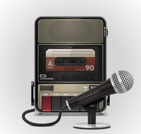 grabadora: Grabadora de cassette vectoriales con el icono de micr�fono XXL