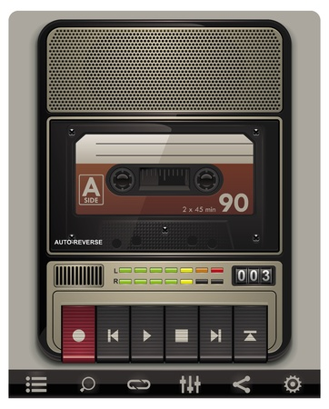 portable audio: Vector cassette recorder template with icons Illustration