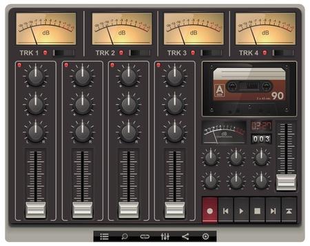 equipo de sonido: plantilla de estudio de grabación portátil con iconos