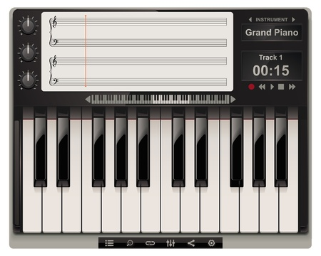 keyboard player: piano template with icons Illustration