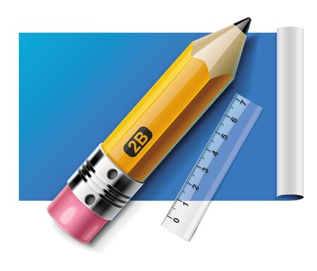 Vector pencil and ruler on paper sheet XXL icon Vector