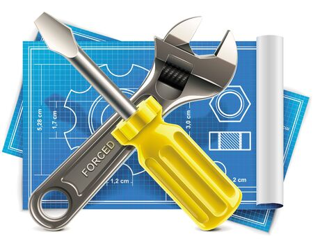 Vector wrench and screwdriver on blueprint XXL icon Vector