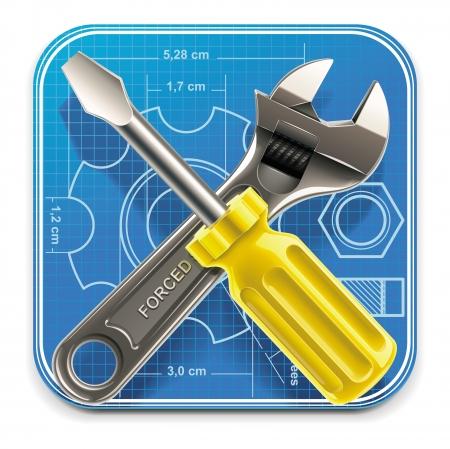 settings: Vector moersleutel en schroevendraaier op blauwdruk XXL vierkante pictogram