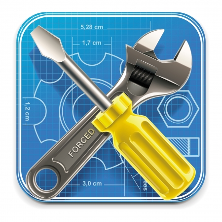adjust: Vector wrench and screwdriver on blueprint XXL square icon