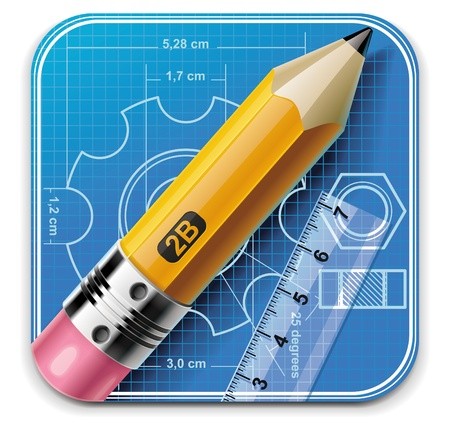 stationery: Vector technical drawing square XXL icon Illustration