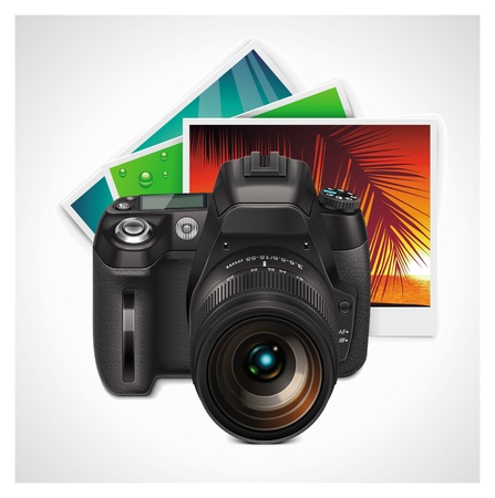 dslr camera: Vector de c�mara y fotos de icono XXL