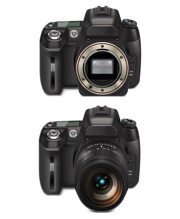photo camera: dettagliate icona che rappresenta la fotocamera reflex con lente e con attacco aperto