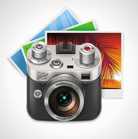 photo equipment: Vector retro camera and photos XXL icon