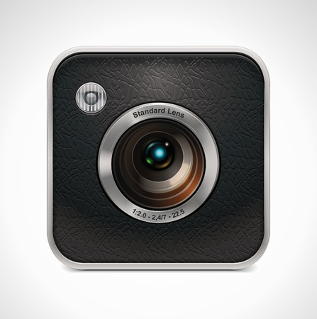 slr camera: Vector square retro camera icon  Illustration