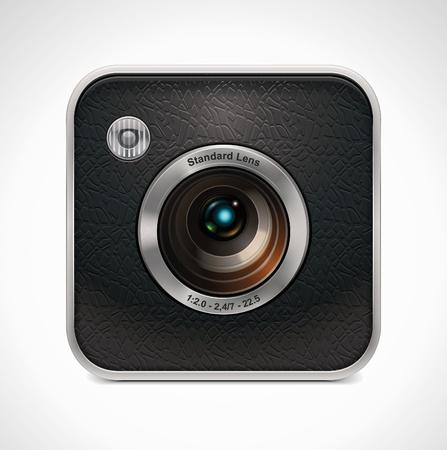 camera lens: Vector vierkante retro camera-icoontje