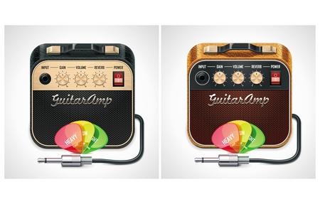 superdirecta: Amplificador de guitarra de vector con selecciones y el icono de jack conector XXL Vectores
