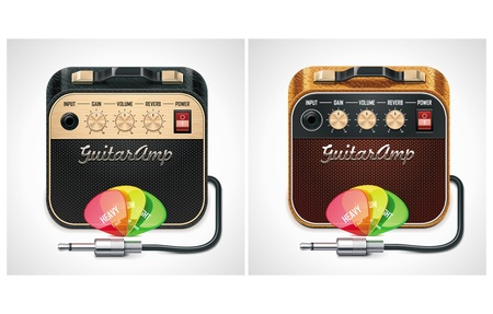 overdrive: Vector guitar amplifier with picks and jack connector XXL icon Illustration