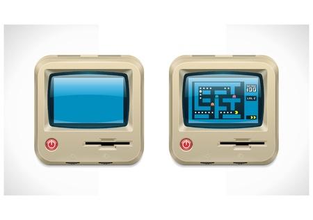 xxl: Vector retro computer square XXL icon  Illustration