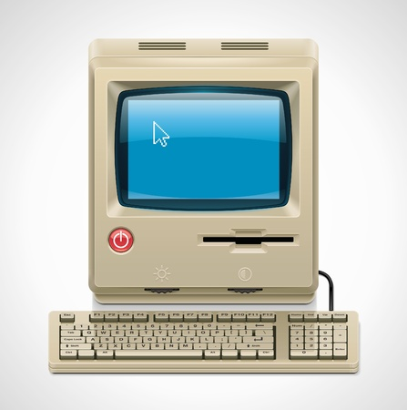 pc icon: Vector retro computer XXL icon