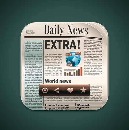 newspaper articles: Vector square newspaper XXL icon