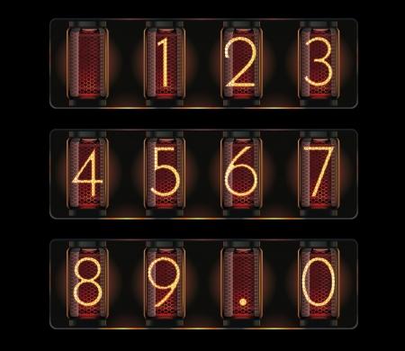 scorebord: Vector nixie buis met cijfers
