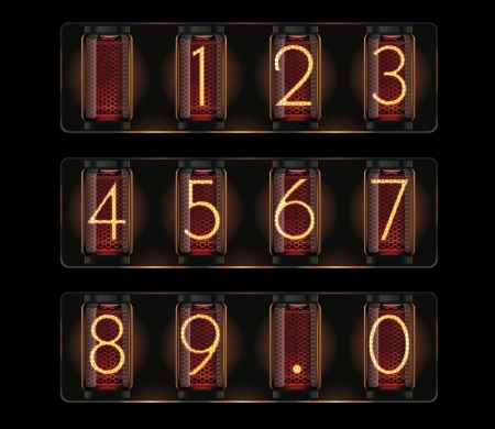 Vector nixie tube with digits Vector