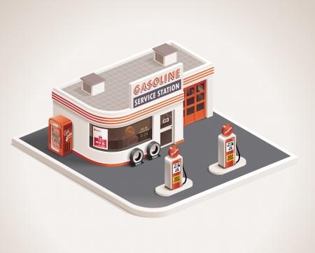 old service station: distributore di benzina lungo la strada XXL icon Vettoriali