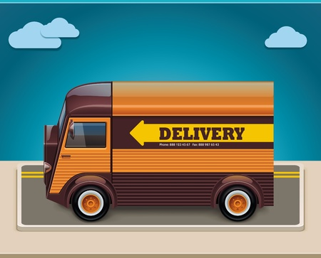 good service: Vector retro delivery van XXL icon