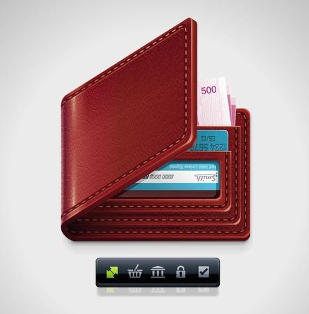 bank overschrijving: lederen portemonnee XXL icoon Stock Illustratie