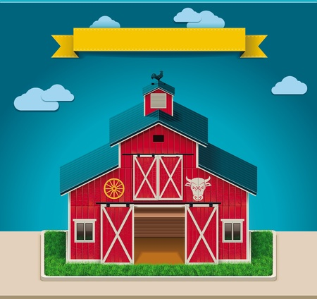 red barn: Vector barn XXL icon Illustration