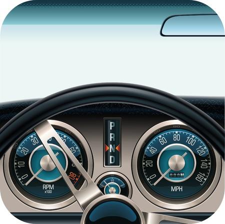 compteur de vitesse: Ic�ne carr�e du tableau de bord voiture de vecteur  Illustration