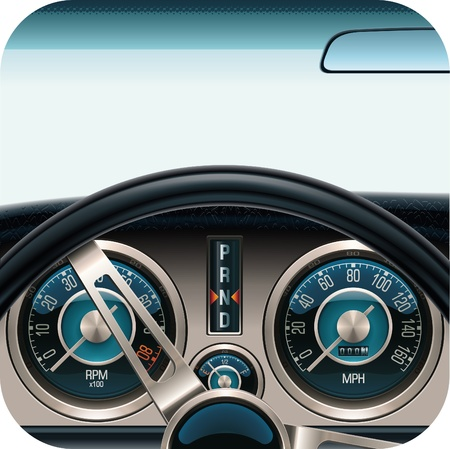 speedometer: Icona quadrata di vettore auto cruscotto