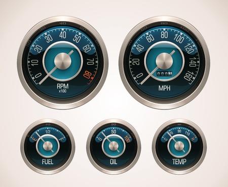 speedometer: Vettore auto retr� gauges
