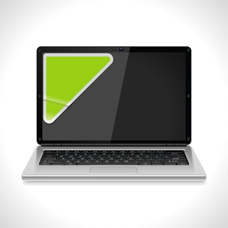 Vector laptop with sticker icon  Stock Vector - 10002788
