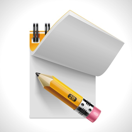 yellow notebook: Vector open notepad with pencil XXL icon Illustration