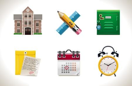 calendario escolar: Iconos de escuela de vector. Parte 1 Vectores