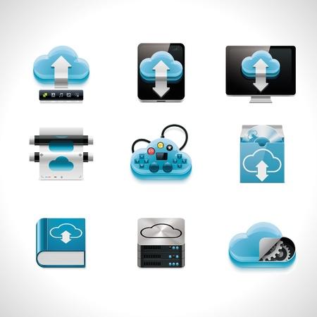 hub: Vecteur cloud computing jeu d'ic�nes Illustration