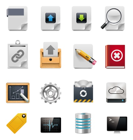 log book: Vector file server administration icon set