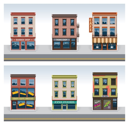 old building facade: Vector city buildings icon set