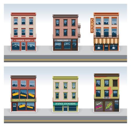 barbershop: Vector Stadsgebouwen pictogramreeks