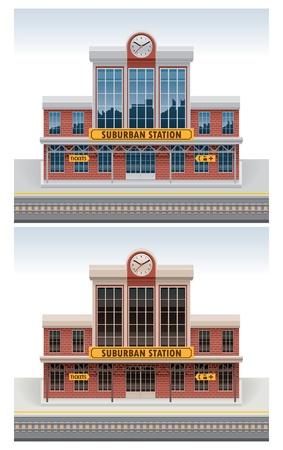 estacion de tren: Icono de estación de ferrocarril de vectores Vectores