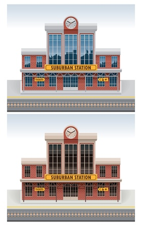 old building facade: Vector railway station icon