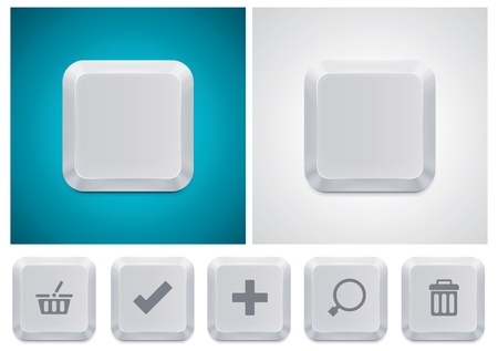 push type: Vector computer keyboard button square icon