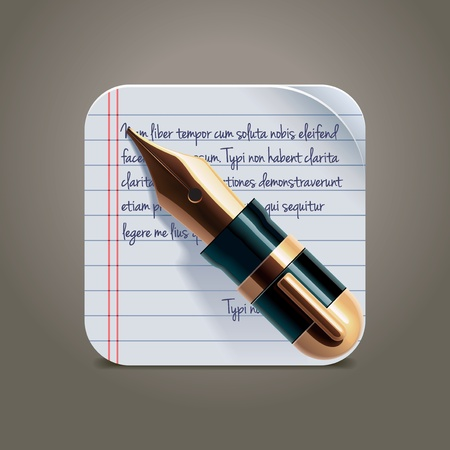 fountain: Vector fountain pen on notepad square XXL icon