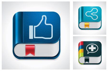 compartiendo: Medios de comunicaci�n social de vector intercambio conjunto de iconos Vectores