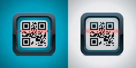 technology symbols metaphors: Vector QR code scanner icon