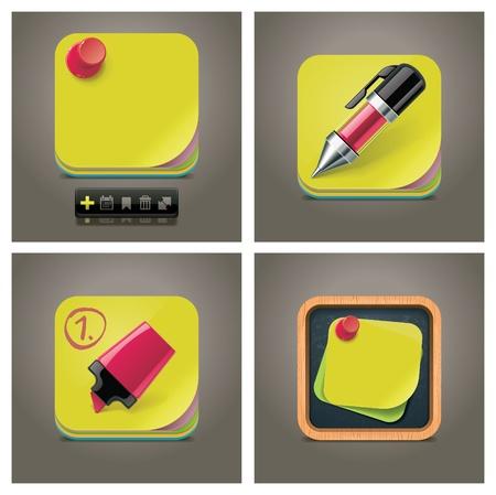 memory board: Conjunto de iconos de nota de vectoriales Vectores