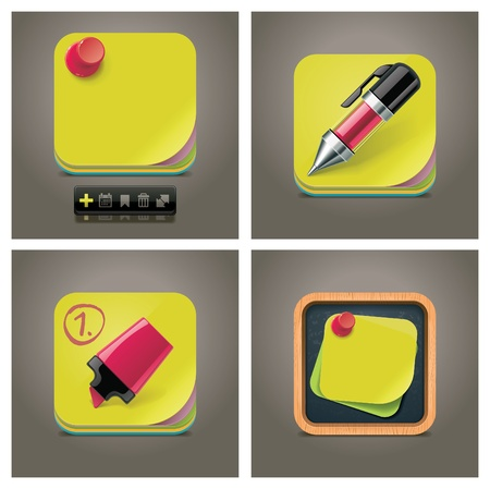 yellow note: Vector sticky note icon set