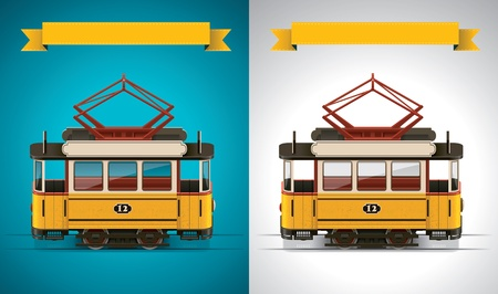 tramway: Vector retro tram XXL icona