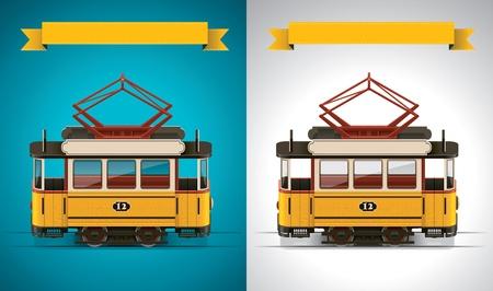 ausflug: Vektor-retro Stra�enbahn-XXL-Symbol