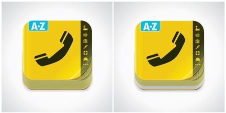 directorio telefonico: icono amarillo de libreta de teléfonos Vectores