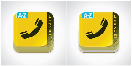 yellow phone book icon Vector