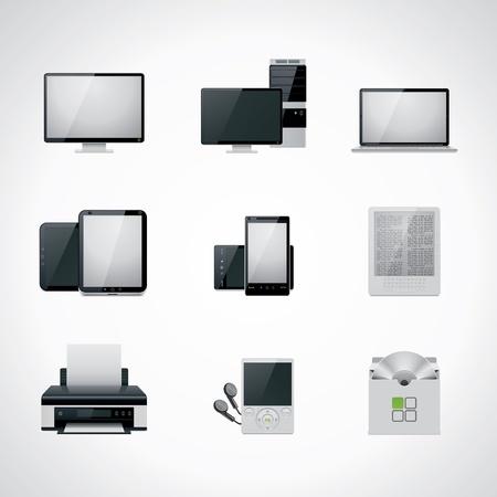 cd case: Conjunto de iconos de equipo de vectores Vectores