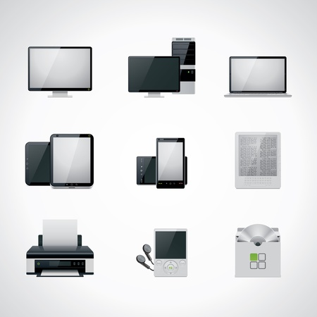 hardware configuration: Vector computer icon set