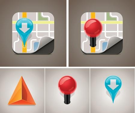 satellite navigation: Mapa vectorial conjunto de iconos